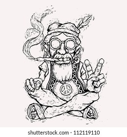 old hippie smokes marijuana and shows the peace symbol. vector illustration