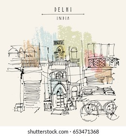 Old historic building and a cart in Main Bazar, Paharganj, New Delhi, India. Hand drawn cityscape sketch. Travel art. Vintage artistic postcard template. Artistic illustration