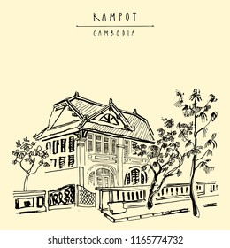 Old historical house in Kampot, Cambodia, Southeast Asia. French colonial town. Travel sketch. Vintage artistic hand drawn touristic postcard or poster. Vector illustration