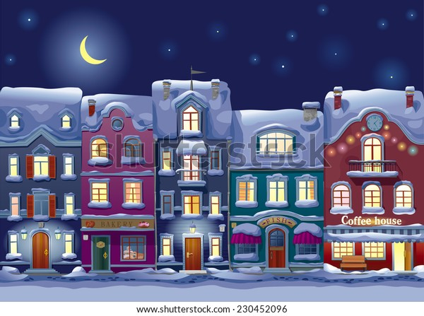 Old historical houses, shops and cafe at the snow-covered city street at midnight