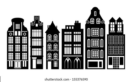 Old Holland houses set, vector illustration