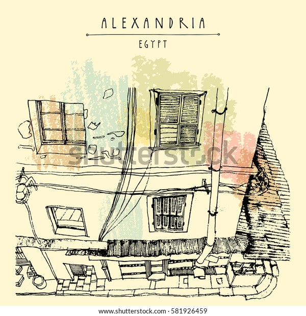 Old house in Alexandria, Egypt, North Africa. British colonial architecture. Hand-drawn vintage book illustration, postcard or poster template in vector