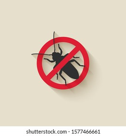 Old House Borer silhouette. Pest icon stop sign