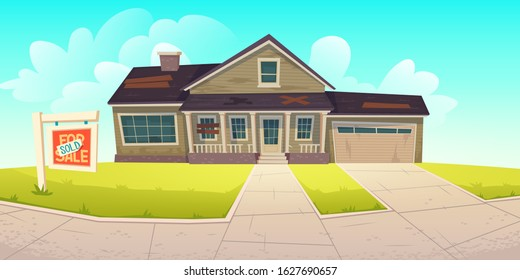 Old house with broken roof, boarded up windows and sign sold. Abandoned dilapidated home for sale. Vector cartoon derelict wooden building, forgotten ramshackle cottage with garage
