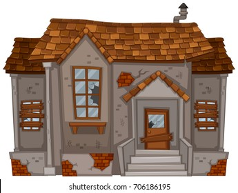 Old house with broken windows and door illustration
