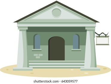 Old house with columns and pediment. Vector.