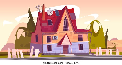 Old house, decrepit residential suburban cottage with rickety fence and satellite antenna on roof. Real estate countryside building exterior, two storey dwelling place. Cartoon vector illustration