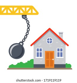 old house demolished by round toran. flat vector illustration.
