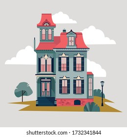 Old house detailed vector illustration. Retro victorian style building facade. Suburban residential real estate design element