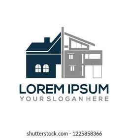 old house renovation to a modern logo