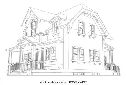 Old house in Victorian style. Illustration on white background. Black and white illustration in contour lines. Species from different sides.
