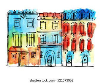 Old houses, city view. Colorful background.