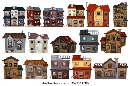 Old houses in different designs illustration