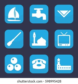 old icon. Set of 9 filled old icons such as castle, mosque, desk phone, mop, tap, cravat, TV, sailboat