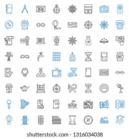 old icons set. Collection of old with hand mirror, colosseum, compass, hourglass, smartphone, phone booth, hot air balloon, telephone, tv, television. Editable and scalable old icons.