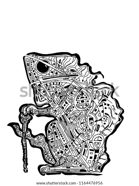 Old Iguana Coloring Page Stock Vector Royalty Free 1164476956