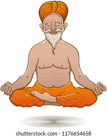 Old Indian guru with dark skin, handlebar mustache, long white beard and orange turban and pants while floating in deep meditation. He shows a placid half-smile while seated in half-lotus posture