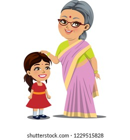 An old Indian woman/ granny is standing with her little granddaughter and giving her blessings by touching her head