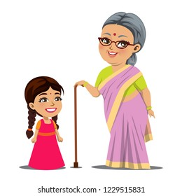 An old Indian woman/ granny is standing with her little granddaughter