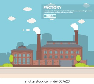 Old industrial factory with a pipe a city silhouette flat vector.Industrial production.Manufacturing engineering brick building.Production structure at the road with a brick fence and gate.Plant
