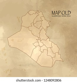 Old iraq map with vintage paper texture vector format. vector eps10