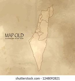 Old israel map with vintage paper texture vector format. vector eps10