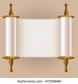 Old jewish scroll. Vector illustration.