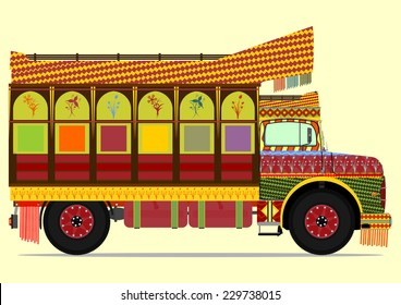 The old jingle truck. Vector illustration without gradients on one layer.