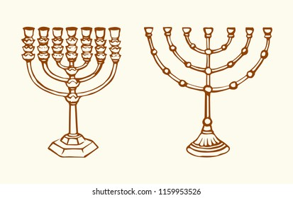 Old judaic chanukah heritage souvenir. Freehand line black ink hand drawn hanuka picture logo emblem sketchy in retro art scribble cartoon style pen on white paper backdrop. Closeup and space for text