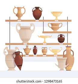 Old jug on shelves. Antique vessel in museum history clay cups and amphoras vector cartoon concept