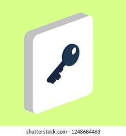 Old Key Simple vector icon. Illustration symbol design template for web mobile UI element. Perfect color isometric pictogram on 3d white square. Old Key icons for you business project