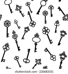 Old keys with decorative elements in retro style. Seamless pattern. Vector illustration