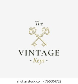 Old Keys Sign. Abstract Vector Sign, Symbol or Logo Template. Hand Drawn Crossed Keys Sillhouettes with Classy Retro Typography. Vintage Vector Emblem. Isolated.