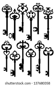 Old Keys, Silhouettes Set, Vector Version