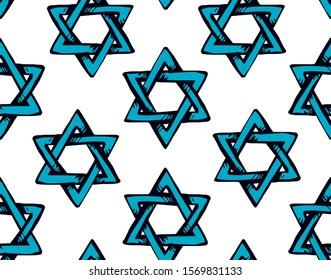 Old kosher judaic chanukkah magen shape heritage backdrop. God torah chanukah yiddish day logo emblem. Blue color hand drawn zion ethnic hannukah sketch. Retro art doodle cartoon style on light white