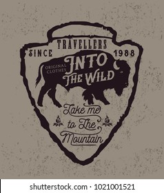 Old label with american bison.Vintage style.Prints vector design for t-shirts