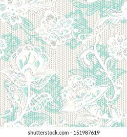 Old lace background, ornamental flowers. Vector realistic texture. Seamless pattern. Eps 8