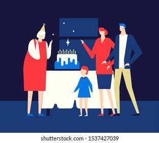 Old lady birthday party flat vector illustration. Young couple with child and aged woman in festive hat cartoon characters. Happy family celebrating grandmother b day anniversary, retirement together