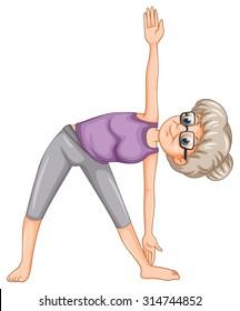 Old lady doing yoga illustration