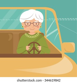 Old lady drives the car. Elderly driver. Vector isolated illustration. Cartoon character.