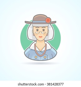 Old lady, elderly woman icon. Avatar and person illustration. Flat colored outlined style. Vector illustration.
