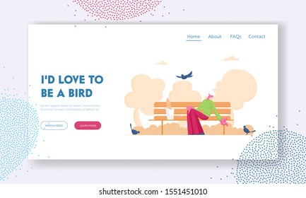 Old Lady Feed Birds Website Landing Page. Happy Smiling Elderly Woman Character Sitting on Bench Feeding Pigeons in City Park in Warm Summer Day Web Page Banner. Cartoon Flat Vector Illustration