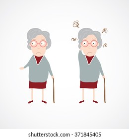 Old lady. Grandma. Cartoon character.