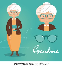 Old lady. Grandma. Vector isolated illustration. Cartoon character.