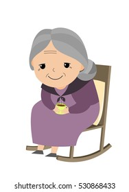 Old lady sitting in her rocking chair.
