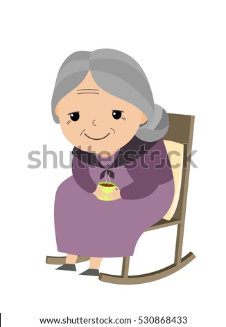 Old Lady Sitting Her Rocking Chair Stock Vector Royalty Free