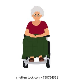 the old lady is sitting in a wheelchair. vector illustration isolated on white background.