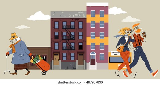 Old lady walking down the street of a city block that is undergoing gentrification, young couple going the opposite direction, EPS 8 vector illustration