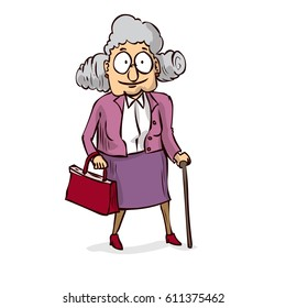 Old lady with walking stick. Hand drawn cartoon vector illustration.