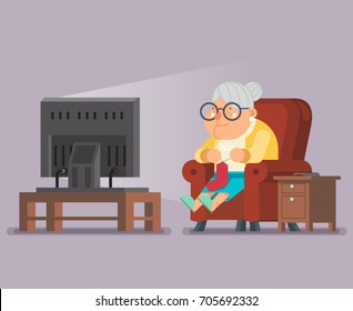 Old Lady Watching TV Sit Armchair Cartoon Character Flat Design Vector Illustration